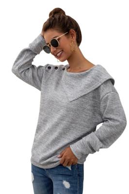 Light Gray Botton Thick Sweatshirt Pullover
