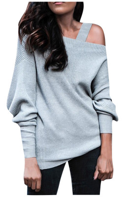 Gray Off Shoulder Sweatshirt Pullover