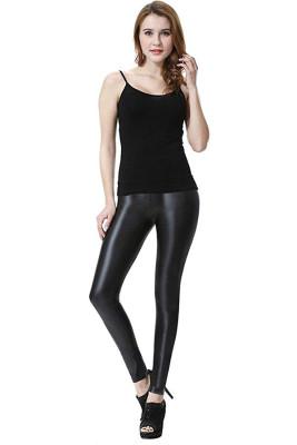 Black PU Leather High Waist Leggings Pants