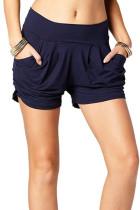 Navy Printed Pocket Harem Shorts