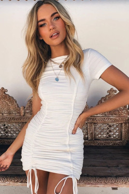 White Pleated Bodycon Dress with Drawstring