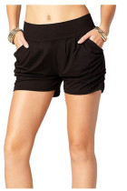 Black Printed Pocket Harem Shorts