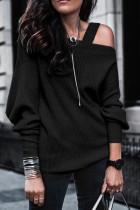Black Off Shoulder Sweatshirt Pullover