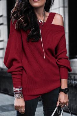 Red Off Shoulder Sweatshirt Pullover