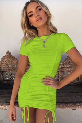 Green Pleated Bodycon Dress with Drawstring