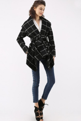 Black Plaid Irregular Coats