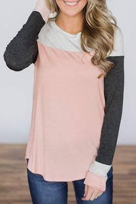 Pink Patchwork Color Block Tops