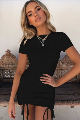 Black Pleated Bodycon Dress with Drawstring