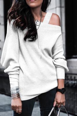 White Off Shoulder Sweatshirt Pullover