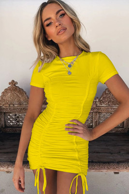 Yellow Pleated Bodycon Dress with Drawstring