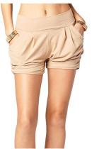 Beige Printed Pocket Harem Shorts