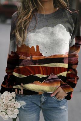 Mountain Peak Print Long Sleeve Pullover Sweater