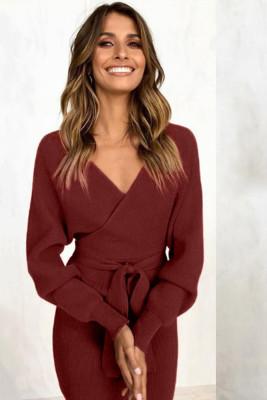 Wine Red V Neck Belt Midi Dresses