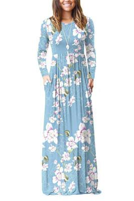 Light Blue Floral Print With Pocket Maxi Dresses