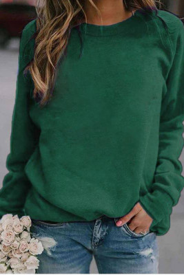 Green Landscape Print Long Sleeve Pullover Sweater