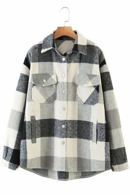 Grey Printed Plaid Long Sleeve Coat