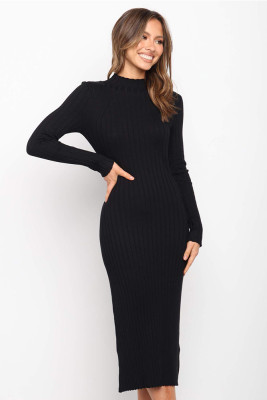 Black Round Collar Striped Kintted Dresses