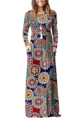 Brown Floral Print With Pocket Maxi Dresses