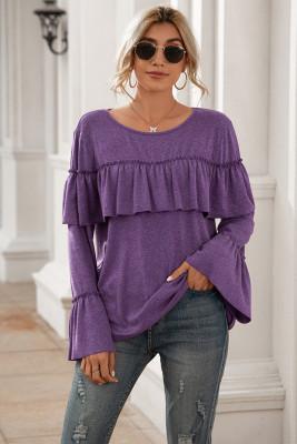 Purple Patchwork Ruffle Tops T-shirt