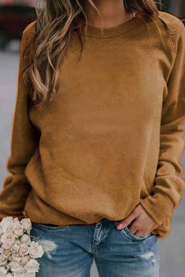 Brown Landscape Print Long Sleeve Pullover Sweater