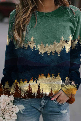 Green Forest Print Long Sleeve Pullover Sweater