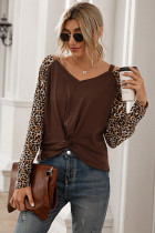 Coffee Leopard Patchwork Hollow Out Tops
