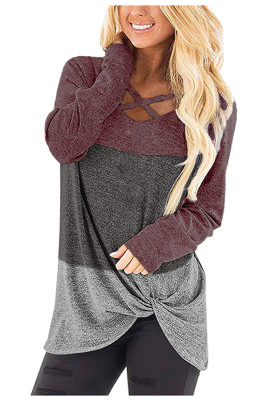 Red Cross Color Block Knot Long Sleeve Tops