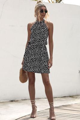 Black Floral Print Sleeveless Mini Dress