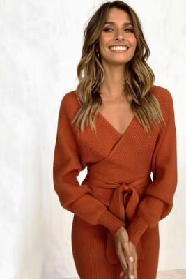 Brown V Neck Belt Midi Dresses