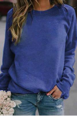 Blue Landscape Print Long Sleeve Pullover Sweater