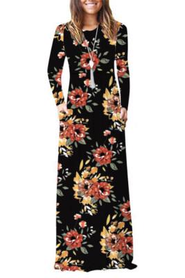 Black Floral Print With Pocket Maxi Dresses