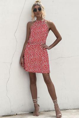 Red Floral Print Sleeveless Mini Dress