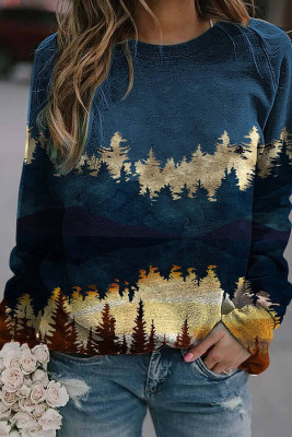 Blue Forest Print Long Sleeve Pullover Sweater