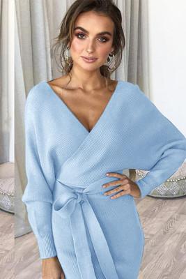 Light Blue V Neck Belt Midi Dresses