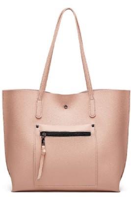 Pink Litchi Pattern Shoulder Bag