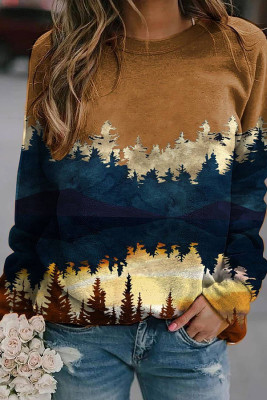 Brown Forest Print Long Sleeve Pullover Sweater