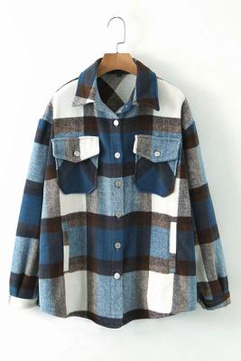 Blue Printed Plaid Long Sleeve Coat