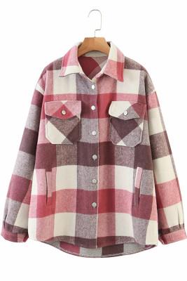 Pink Printed Plaid Long Sleeve Coat