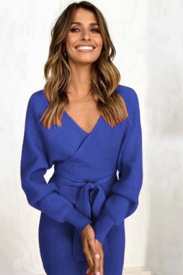 Blue V Neck Belt Midi Dresses