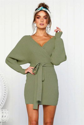 Green V Neck Belt Midi Dresses