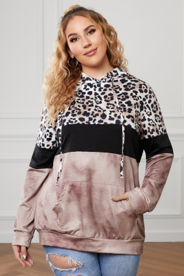 Brown Leopard Splicing Colorblock Plus Size Hoodie with Pocket