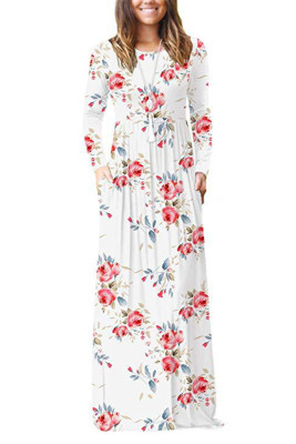 White Floral Print With Pocket Maxi Dresses