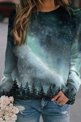 Starry Sky Print Long Sleeve Pullover Sweater
