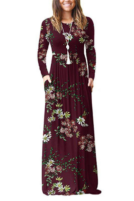 Wine Red Floral Print With Pocket Maxi Dresses