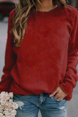 Red Landscape Print Long Sleeve Pullover Sweater