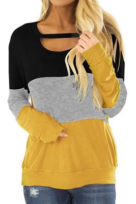 Black Round Neck Color Block Long Sleeve T-shirt