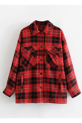 Red Printed Plaid Long Sleeve Coat