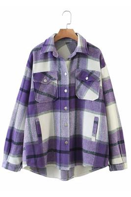 Purple Printed Plaid Long Sleeve Coat