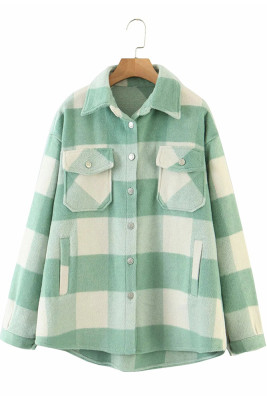 Light Green Printed Plaid Long Sleeve Coat
