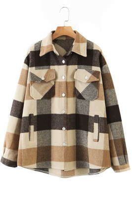 Khaki Printed Plaid Long Sleeve Coat